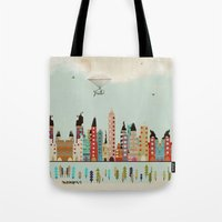 indiana Tote Bags featuring visit Indianapolis Indiana by bri.buckley
