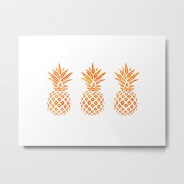 Orange Swirl Pineapples on White Metal Print