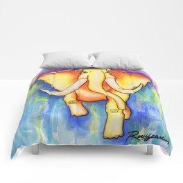 Psychedelic Orange Elephant Comforters