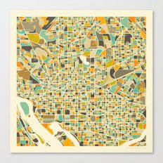 Washington DC Map Canvas Print