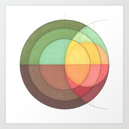 Concentric Circles Forming Equal Areas Art Print