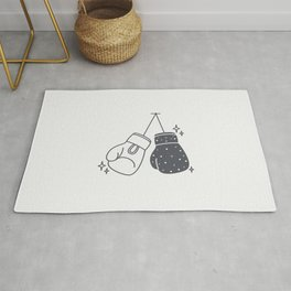 Boxing gloves night and day Rug