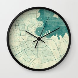 Doha Map Blue Vintage Wall Clock