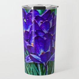Siebers Crocus   Spring Flowers   Vivid Vioilet Oil Painting Travel Mug