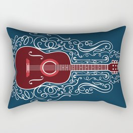 Acoustic Guitar With A Scroll Design Rectangular Pillow