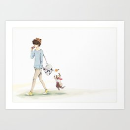 The boy and a cat Art Print