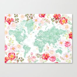 Mint green and hot pink watercolor world map with cities Canvas Print