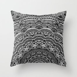 Zen Black and white mandala Sophisticated ornament Throw Pillow