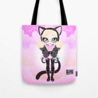 akira Tote Bags featuring Kitty Akira by Miss Cherry Martini