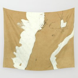 """Egon Schiele """"Female Nude with White Border"""" Wall Tapestry"""