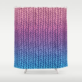 Chunky Knit Pattern in Pink, Blue & Purple Shower Curtain