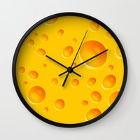 cheese Wall Clocks featuring Cheese by Mikibo