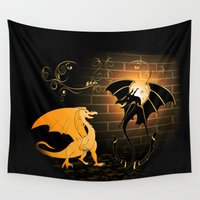 dragons Wall Tapestries featuring Funny dragons by nicky2342