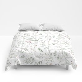 Ditsy Watercolor Flowers and Leaves Comforters