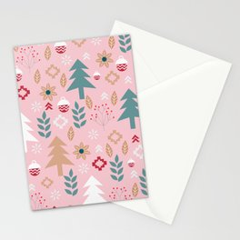 Cute Christmas in pink Stationery Cards