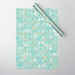 Luxury Aqua and Gold oriental pattern Wrapping Paper