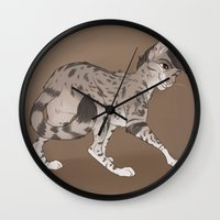 zayn Wall Clocks featuring Zayn Cat by Skaikat