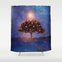 lights Shower Curtains featuring Energy & lights by Viviana Gonzalez