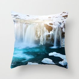 Glacier Waterfall (Color) Throw Pillow
