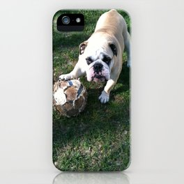 Bulldog Playing Soccer iPhone Case