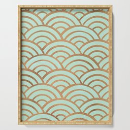 Japanese Seigaiha Wave – Mint & Copper Palette Serving Tray