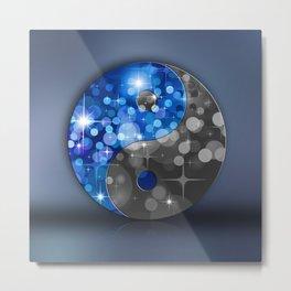 YIN & YANG Stars in blue black Metal Print