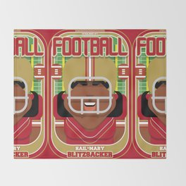American Football Red and Gold - Hail-Mary Blitzsacker - Aretha version Throw Blanket