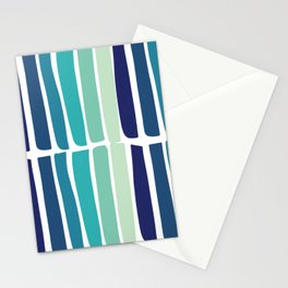 Hand Drawn Blue Green Stripes Pattern Minimal Stationery Cards