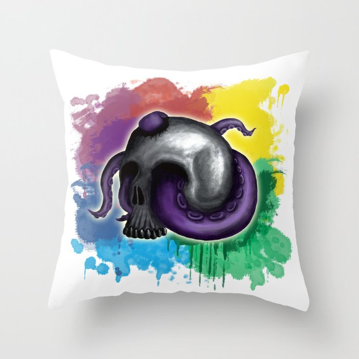 Octopus In Skull - Colourful Background Throw Pillow