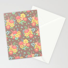 Retro floral groups - brown, mixed colours Stationery Cards