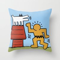 keith haring Throw Pillows featuring Keith Haring + Charles Schulz by Jared Yamahata