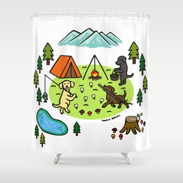 Labrador Happy Camping Kids Shower Curtain