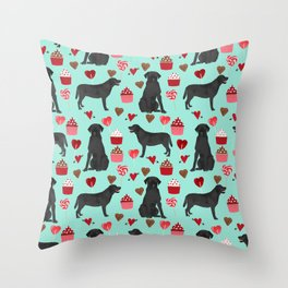 Black Lab love hearts cupcakes valentines day dog breed pet art gifts labrador retriever breed Throw Pillow