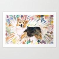 corgi Art Prints featuring Corgi by Caitlin Rausch