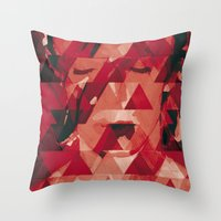 david bowie Throw Pillows featuring Bowie by Aive Trujillo Photography