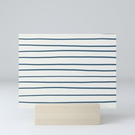 Blue Hand Drawn Horizontal Lines on Off White Pairs To 2020 Color of the Year Chinese Porcelain Mini Art Print