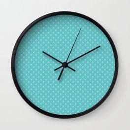 Pink Polka Dots Turquoise Wall Clock