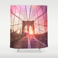 brooklyn bridge Shower Curtains featuring Brooklyn Bridge  by Vivienne Gucwa