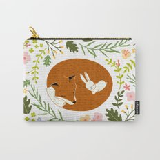 Friendship in Wildlife_Fox and Bunny_Bg White Carry-All Pouch