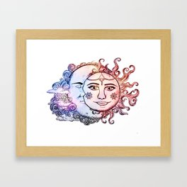 colored Sun and Moon Framed Art Print