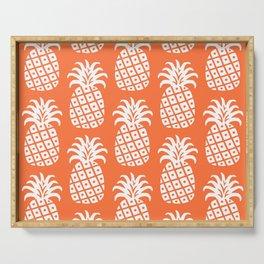 Retro Mid Century Modern Pineapple Pattern Orange 2 Serving Tray