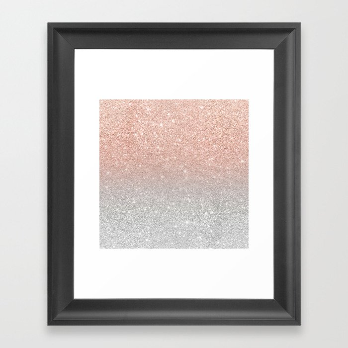 Modern trendy rose gold glitter ombre silver glitter Framed Art ...