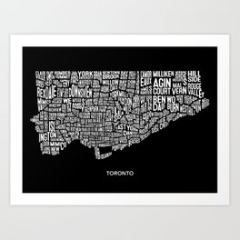Toronto Typography Map, Black Art Print