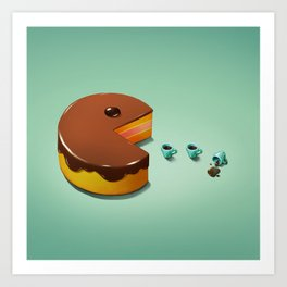 Art Snacks: Pacman Cake Art Print