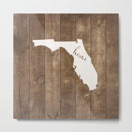 Florida is Home - White on Wood Metal Print