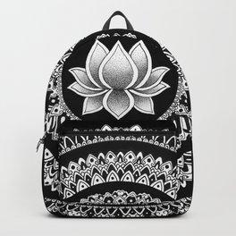 Black and White Lotus Mandala Backpack