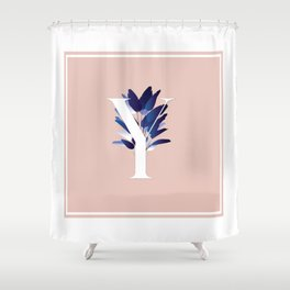 Blue China Palms Letter Y Shower Curtain