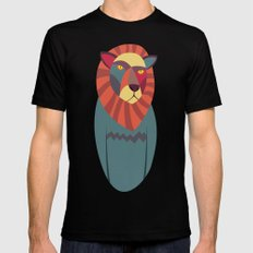 Hipster Lion Black Mens Fitted Tee MEDIUM