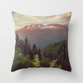 Mountain Sunset Bliss - Nature Photography Throw Pillow