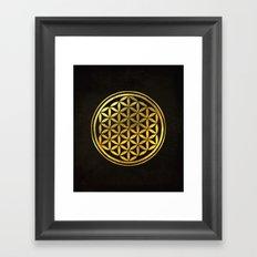 Golden Flower Of Life Framed Art Print